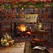 Christmas fireplace with garlands — Stock Photo #34643339