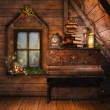 Stock Photo: Attic with a piano and candles