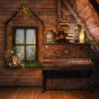 Stock Photo: Attic with piano and candles