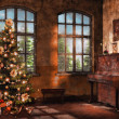 Stock Photo: Room with a piano and Christmas tree