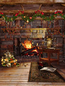 Christmas fireplace with garlands — Stock Photo