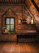 Attic with a piano and candles — Stock Photo