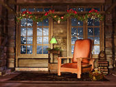 Cottage room with garlands — Stock Photo