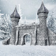Castle gate with snow — Foto Stock