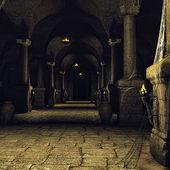 Dark medieval corridor — Stock Photo