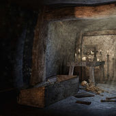 Crypt with scattered bones — Stock Photo