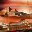 Egyptian boat and pyramids — Stock Photo