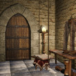 Medieval room with a book — Stock Photo