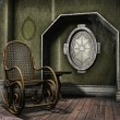 Dusty room with a rocking chair — Stock Photo