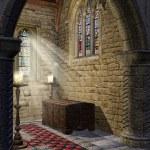 Medieval church aisle — Stock Photo