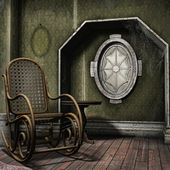 Dusty room with a rocking chair — 图库照片