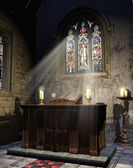 Medieval church altar — Stock Photo
