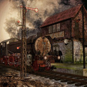 Old train and ruined station — Stock Photo