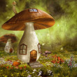 Colorful mushroom houses — Stock Photo