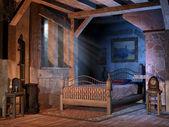 在一间小屋的卧室 — 图库照片