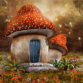 Fantasy mushroom cottage — Stock Photo
