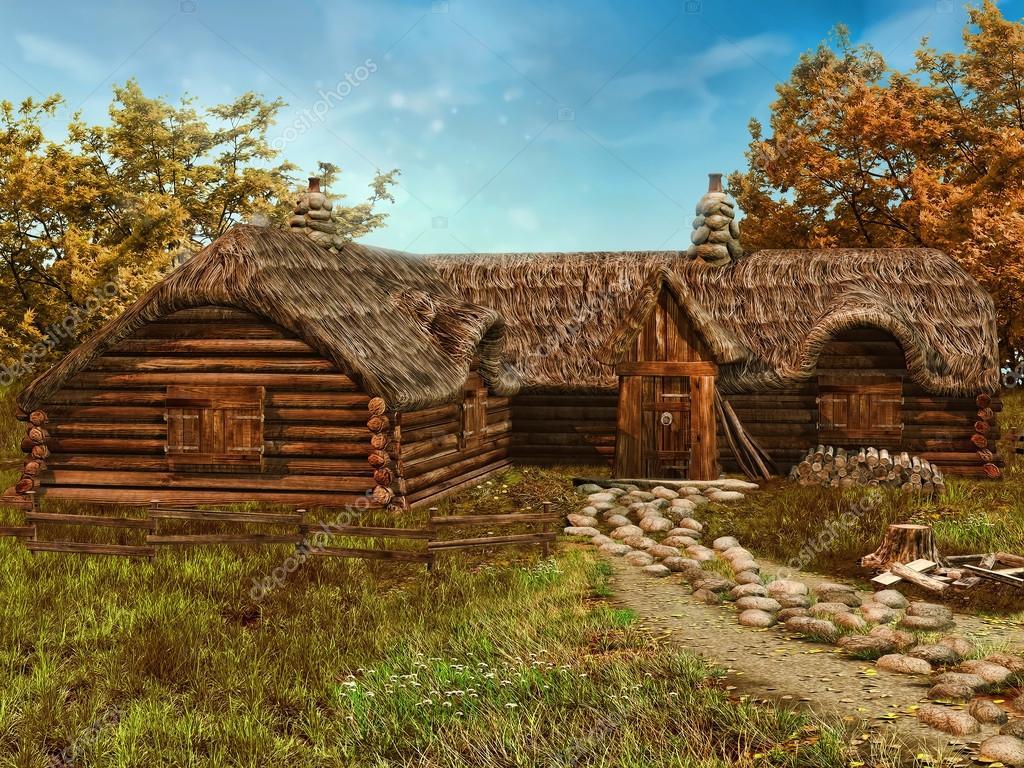 Cottage in legno colorato foto stock fairytaledesign for Piani architettonici di cottage