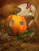 Fantasy pumpkin carriage — Stock Photo