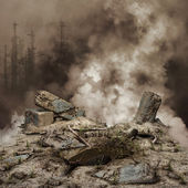 Rubble and smoke — Stock Photo