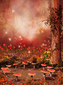 Fairy ring of mushrooms and flowers — Stock fotografie