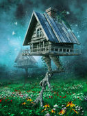 Witch's cottage on a meadow — Stock Photo