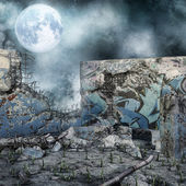 Ruined wall at night — Stock Photo