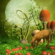 Fantasy meadow with a deer — Stock Photo