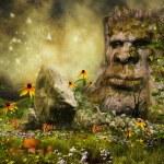 Fairy tree, flowers and mushrooms — Stock Photo #41778965