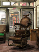 Steampunk barber's shop — Stock Photo