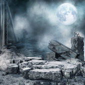 Night scenery with city rubble — Stock Photo