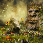 Fairy tree, flowers and mushrooms — Stock Photo