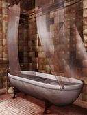 Old bathtub with blood — Stockfoto