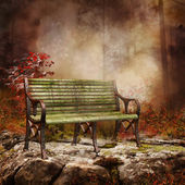 Bench on a rock — Stock Photo