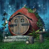 Fairy house with lanterns — Stock Photo
