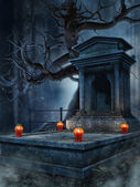 Old tomb with lanterns — Stock Photo