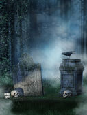 Headstones with skulls — ストック写真