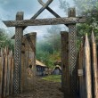 Wooden gate to a medieval village — Stock Photo #51048579