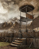 Watchtower in an old settlement — Stock Photo