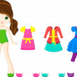Stock Vector: Paper doll with clothing