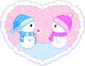 Two follow in love snowmans — Stock Vector
