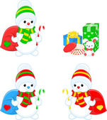Three snowmen and gifts — Stock Vector