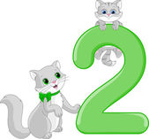Number two. Two cats — Stock Vector