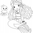 Stock Vector: Mermaid coloring page
