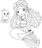 Mermaid coloring page — Stock Vector