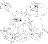 Hedgehog coloring page — Stock Vector