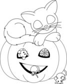 Halloween coloring page — Stock Vector