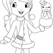 Stock Vector: Girl and snowmcoloring page