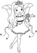 Fairy winter coloring page — Stock Vector