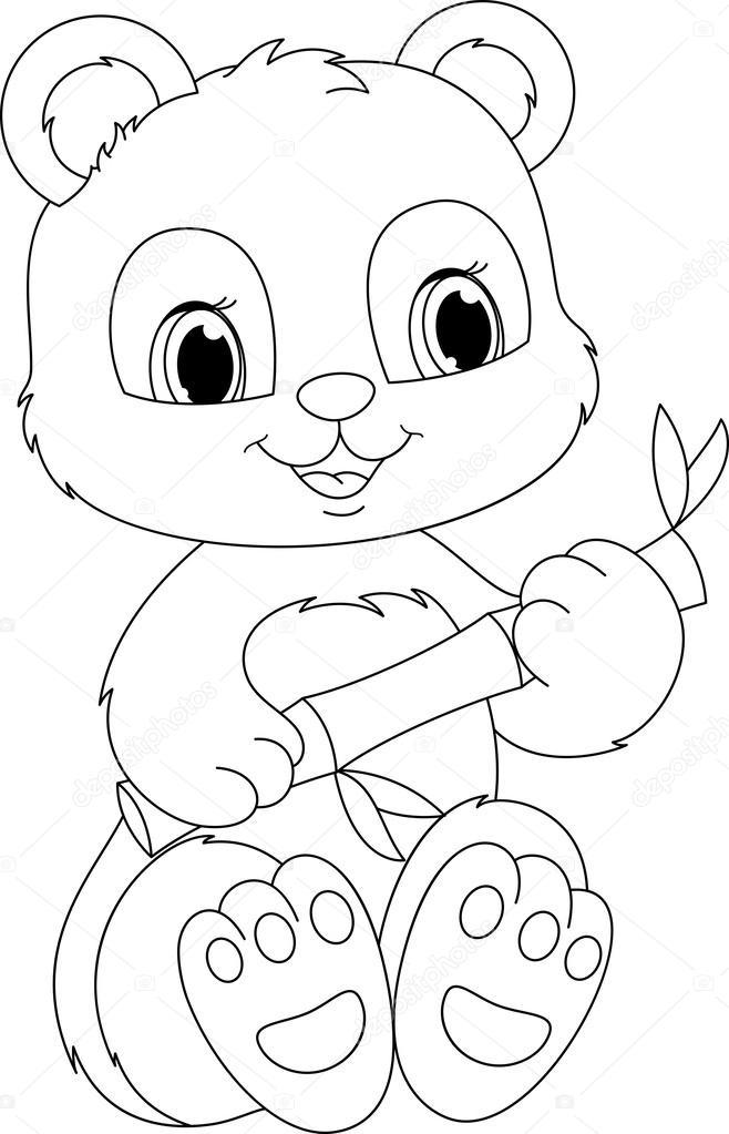 Панда раскраска картинка