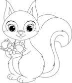 Squirrel coloring — Vector de stock